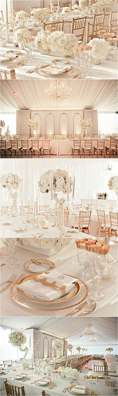 Wedding ● Tablescape  ● Rose Gold & White