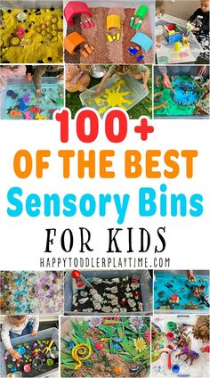 UPDATED…Here are 100+ fun and amazing SENSORY BINS for toddlers and preschoolers. Learn and play with all these sensory bin ideas from rice to pom poms and SO MUCH more! Baby Sensory Ideas 3 Months, Color Activities For Toddlers, Tactile Activities, Rainy Day Activities For Kids, Preschool Learning Activities, Infant Activities, Toddler Preschool, Sensory Bins, Sensory Play