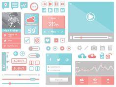 flat design ui kit to download for free