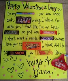 Classroom idea: have each child create a phrase or sentence using a chosen candy. Valentines Day Gifts For Him Creative, Valentines Day Gifts For Him Husband, Mens Valentines Gifts, Cute Valentine Ideas, Valentines Messages For Him, Valentine Day Crafts, Creative Gifts, Holiday Gifts, Dad Valentine
