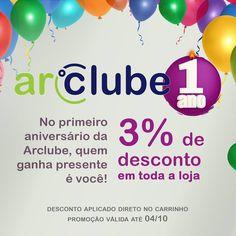 Hoje é o aniversário de 1 ano da Arclube! Obrigado a todos que colaboraram para chegarmos aqui! Para celebrar, vamos oferecer um desconto em toda a loja. Aproveite!