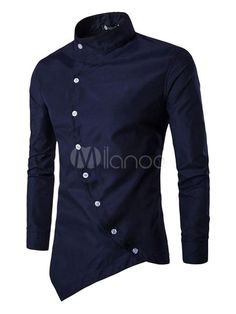 Men's Casual Shirt Slim Fit Oblique Button Down Long Sleeve Stand Collar Cotton Shirt