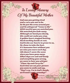 This really touched my heart when I read this. This is just what I needed to read now that my mom Has passed and is in heaven:-) miss you mom!