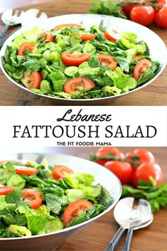 Lebanese Fattoush Salad- The Fit Foodie Mama's family recipe! It's gluten free, vegan and you can throw it together in a pinch! Perfect for making ahead for meal planning since it gets even better after sitting in the fridge overnight! TheFitFoodieMama.com