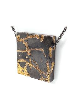 The Lava Cube - Handmade dark oxidized silver and gold artisan necklace. Urban Jewelry, Modern Jewelry, Custom Jewelry, Pendant Jewelry, Silver Jewelry, Pendant Necklace, Silver Earrings, Gold Pendant, Silver Necklaces