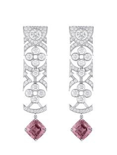 Louis Vuitton's Voyage dans le Temps Dentelle de Monogram earrings in white gold with red spinels and diamonds. Art Deco Jewelry, I Love Jewelry, High Jewelry, Luxury Jewelry, Jewelry Design, Bijoux Louis Vuitton, Louis Vuitton Presents, Collection Louis Vuitton, Monogram Earrings