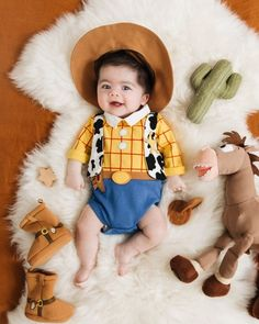 Fashion Look Featuring Disney Soft & Plush Toys and Disney Boys' Bodysuits by newdarlings - ShopStyle Baby First Halloween Costume, Cute Baby Costumes, Cute Babies Photography, Newborn Baby Photography, Baby Boy Pictures, Newborn Pictures, Baby Kalender, Woody Costume, Monthly Baby Photos