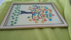 The Tree of Life--8 x 10 Multi Color Button Art on a Tree by Pink Elephant Shop