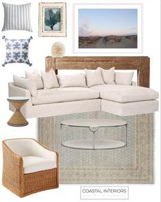 Coastal Homes, Coastal Living, Home Living Room, Living Room Designs, Large Artwork, Sofa, Couch, Swivel Chair, Slipcovers
