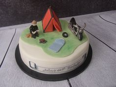 lovley camping, motorcycle and biker cake all edible Cakes And More, Birthday Cakes, Biker, Celebration, Motorcycle, Camping, Desserts, Food, Campsite