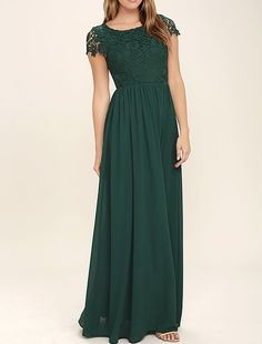 Modest Prom Dress, Lace Prom Dress, Long Chiffon Prom Dress, Green Prom Dress, Woman Formal Dresses, Simple Evening DressesWant a glamorous red carpet look for a fraction of the price? This exquisite ..