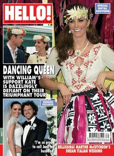A fun photo of Kate dancing in Tuvalu made the cover of this week's Hello! Magazine.