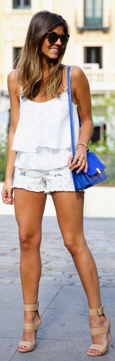 Blue Tie-dye Denim Cutoffs by TrendyTaste