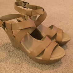 Maurices Strappy Wedges Super cute faux leather strappy wedges from Maurices with canvas around the wedge. Barely worn. Kind of a muddy, tan color. Size 7 - not the best for wide feet. Cute for spring! Bundle or make offer for discount. Maurices Shoes Wedges