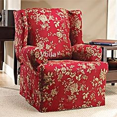 WING CHAIR Slipcover Floral Burgundy-Red Wingback Sure Fit Flower Cover