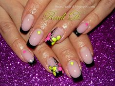 It`s all about nails: Black French with Neon Flowers & Studs