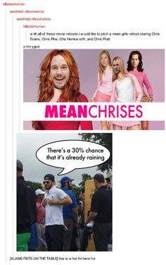 Mean Girls Reboot with all the Chrises. OMG HELP!!!!