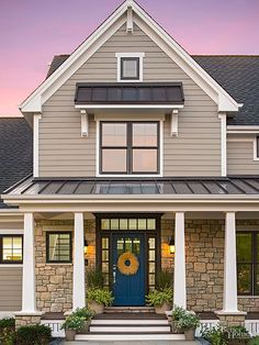 Fiber-cement siding and architectural trim is designed to withstand extreme heat and cold. The smooth finish lends a modern feel and is a clean backdrop for the standing-seam metal roof accents.  Siding and trim: James Hardie/