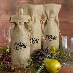 Burlap Wine Bag - Vino!