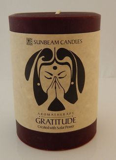 GRATITUDE CANDLE 3 x 4 Pillar SUNBEAM CANDLES Beeswax SOY Frankincense Orange