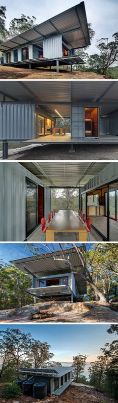 OUTPOST 7427139 CONTAINER RETREAT This is a container based mountain bike retreat. Cargo Container Homes, Building A Container Home, Container Cabin, Container Buildings, Storage Container Homes, Container Architecture, Container House Design, Architecture Design, Shipping Container House Plans