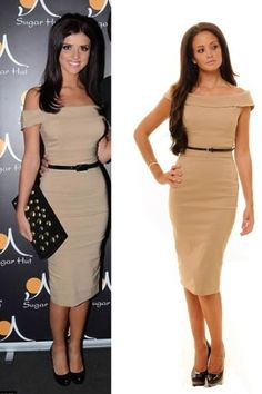 The Pretty Dress Company - Bardot Off Shoulder pencil dress in Camel
