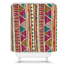 DENY Designs Valentina Ramos Ethnic Stripes Shower Curtain - Shower Curtains at Hayneedle