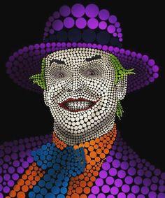 Circleface Portrait - Jack Nicholson by Markus Müller, via Behance Dot Art Painting, Mandala Painting, Arte Pop, Joker Kunst, Ben Heine, Pop Art, Conceptual Drawing, Acid Art, Mandala Canvas