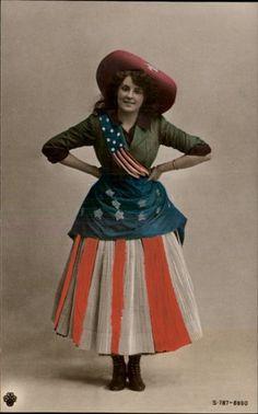 vintage real photo postcard ~ patriotic American flag costume