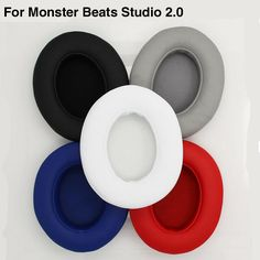 2pcs/pairs Leather Headphone Foam For Monster Beats Studio 2.0 headset ear pads buds Sponge cushion Earbud Replacement Covers