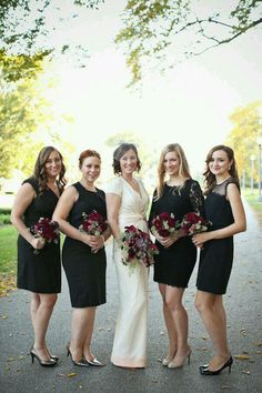 Black dressed bride maids