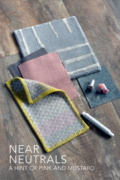 Near neutrals with a hint of pink and mustard for interiors. This sample board brings together some of our rugs and fabric samples; Jerbourg Rug, Plain Wools and L'Ancresse. Textile Design, Fabric Design, Modern Rugs Uk, Room Colors, Colours, Material Board, Neutral Color Scheme, Decorative Cushions, Fabric Online