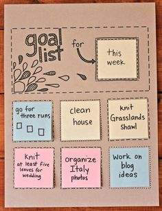 Goal list for the week
