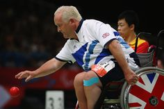 Nigel Murray of Great Britain plays a shot during the Mixed Boccia