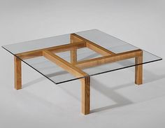 Unique Coffee Tables Styling Ideas For Your Living Room, Wood Pierre Guariche; Unique Ash and Glass Coffee Table for His Apartment, Unique Coffee Table, Coffee Table Styling, Coffe Table, Coffee Table Design, Square Coffee Tables, Glass Coffee Tables, Glass Tables, Woodworking Furniture, Fine Woodworking
