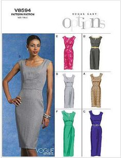 Vogue Pattern V8594 - Vogue Easy Options - Wardrobe Essentials Misses' Dress