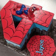 Spiderman number 4 cake