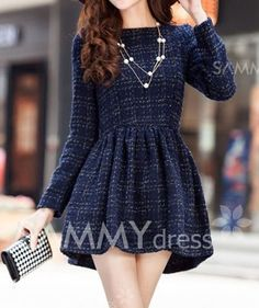 Modern Style Checked Long Sleeves Color Block Worsted Round Neck Dress For Women