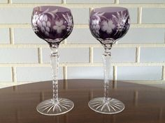 Ajka Amethyst Cut To Clear Crystal Goblets by SweetestCollections