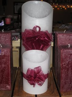 White luminaries with distressed finish square pillars - designbycandlelightaz@gmail.com  #candles