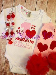 Baby's First Valentine's Day Ruffle Bodysuit or by SweetNSassyTots