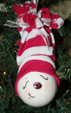 *SNOW GIRL ~ Hand painted sleepy time snowgirl light bulb by TracysCrtns, $10.00