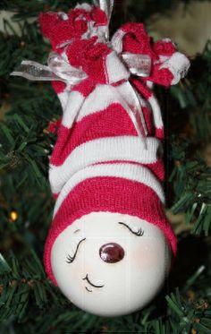 *SNOW GIRL ~ Hand painted sleepy time snowgirl light bulb by TracysCrtns, $10.00