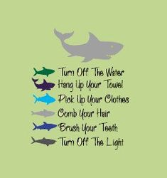 Sharks BATHROOM RULES  Kids Bathroom  Vinyl Wall Lettering Decal.  via Etsy.