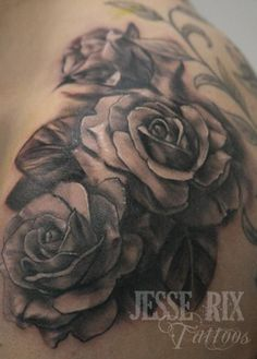 black roses on back and shoulders