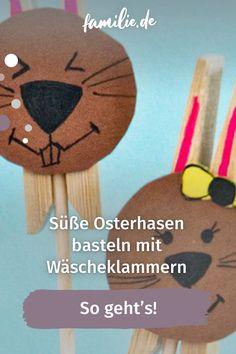 Diese lustigen Klammer-Osterhasen machen die Oster-Deko perfekt. Das Beste: Sie sind kinderleicht und ruck zuck gebastelt. Wir zeigen wie es geht. Blouse, Design, Rabbit Ears, Craft Tutorials, Blouses, Woman Shirt, Hoodie, Top