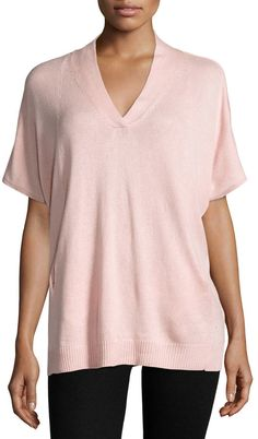 Neiman Marcus Silk-Cashmere Short-Sleeve Pullover Top, Blush