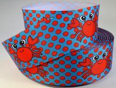 1 1/2 Large Red Crab  Nautical Ribbon  Grosgrain