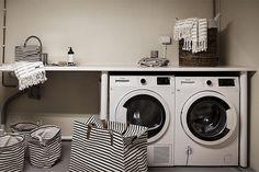 Bilder, Badrum, Bänk, Förvaring, Korg, Randigt, Tvättkorg, Tvättstuga - Hemnet Inspiration