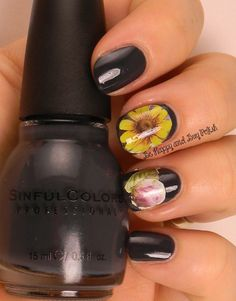 OMD2 Nail Art Challenge Dark | Sinful Colors  Ardoise | Be Happy And Buy Polish http://wp.me/p3n4zP-1k0